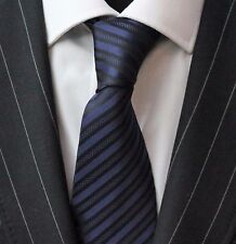 Tie Neck tie with Handkerchief Black & Dark Blue Stripe