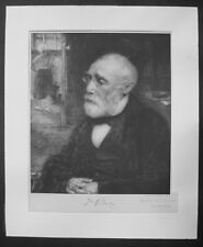 VERY RARE Jozef Israels Portrait Signed Etching Jewish Judaica 19th Century Art
