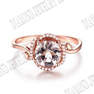 1.6ct Round Flawless Morganite & Diamond Elegant Fine Wedding Ring 10K Rose Gold
