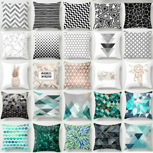 "Cushion Covers White Black Soft Decorative Throw Pillow Case Black Green 18x18"""