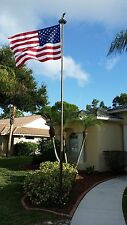 HEAVY DUTY 12 GAUGE TITAN 25S SILVER ALUMINUM TELESCOPING FLAG POLE 25' USA