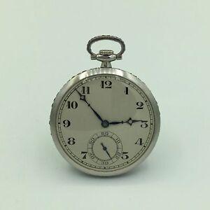 Art Deco 1927 Platinum Zodiac 40 mm 18 Jewel Open Faced Ruby Edge Pocket Watch