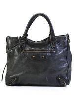 Balenciaga Leather Medium Motorcross Satchel Handbag Dark Green