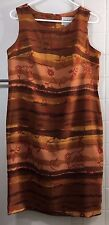 Studio I Womens Dress Sz 10 Brown Tan Red Multi Color Flower Print Sleeveless