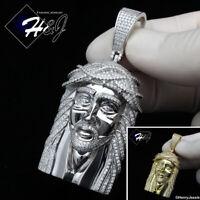 MEN 925 STERLING SILVER ICY DIAMOND SILVER/GOLD 3D JESUS FACE PENDANT*SP274