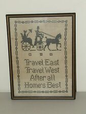 "Vintage Framed Victorian Style Colonial Textile Sampler ""After All Home's Best"""