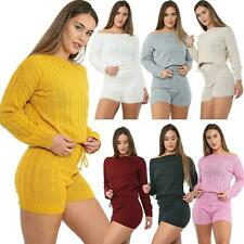 New Women Knitted Jumper Top And Shorts Co-Ord Set Ladies 2Pcs Casual Loungewear