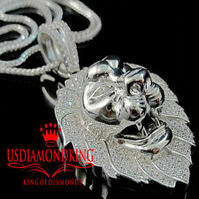 10K White Gold Over Real Silver Lab Diamond Mens King Lion Head Pendant Charm