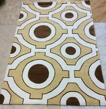 """RETRO PATTERN GOLD, CREAM AND BROWN RUG FROM GOOCH ORIENTAL CARPETS 5'x7'6"""" NEW!"""