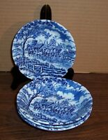 """LOT OF 5 MYOTT ROYAL MAIL BLUE FRUIT DISHES 5.25"""" MADE IN ENGLAND NEVER USED"""