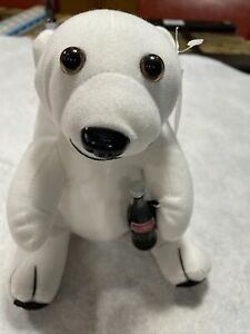 COCA-COLA BRAND Plush POLAR BEAR with Coke Bottle New With Tag 7 1/2 Inches