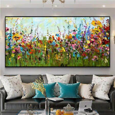 "AA129# Modern Decor art Large 48"" Hand-painted Oil Painting Flower sea Unframed"