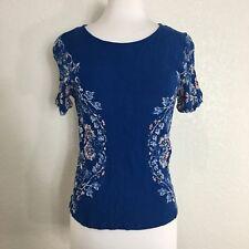 Alya Womens Shirt Blue Floral Button Back Size Medium Blouse Short Sleeve