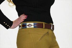 Polo Belt Argentinian Handmade Brown Leather Belts Blue 28'' - 48''(70cm-120cm)
