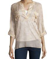Diane Von Furstenberg Sz 4 -Danielle 100% Silk Blouse Tan Shirt Top
