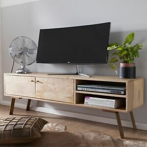 WOHNLING TV Lowboard SIKAR Massivholz Fernsehkommode Landhaus Fernsehschrank