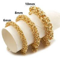 6/8/10mm Stainless Steel Gold Tone Byzantine Chain Men's Women's Bracelet 7-11''