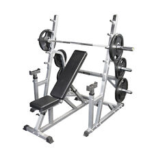 Barbell Safety Squat Rack + Adjustable Incline Bench + 105kg Weights + Barbell