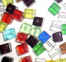 50 pieces 8mm Crystal Glass Square / Cube Beads - Assorted Mixed - A3093