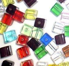 50 Piezas 8mm Cristal De Vidrio Cuadrado / Cubo Beads-Surtidos Mixta-a3093