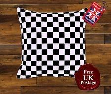 Check Cushion Cover, Racing Check Cushion, Choose Your Size, Red, Blue, Black,