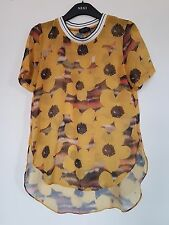 New Topshop Yellow Black Orange Floral Sporty See Through T Shirt Top Size 8 10