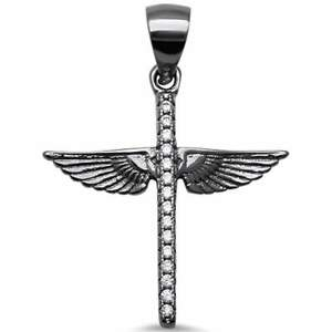 """Black Plated Rhodium Cross with Wings Angel .925 Sterling Silver Pendant 1"""""""