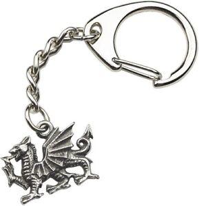 Heraldic Dragon Silver Pewter Keyring