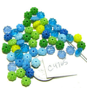 Vintage Czech Glass Flower Beads YOUR CHOICE OF COLORS 6x3mm Lots of 50