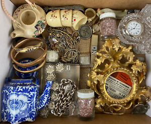 Vintage Antique Junk Drawer Lot Collection Gold-Filled Sterling Waterford Watch