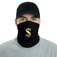 Black Neck Gaiter Golden Dollar Sign Face Covering Mask