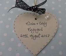 Personalised Engagement present heart  plaque keepsake