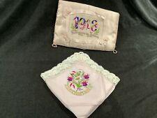 More details for stunning ww1 silk sweetheart handkerchief / french souvenir silk padded cushion