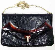 Original Caprice lucite trim 50-60s black snakeskin clutch purse evening bag