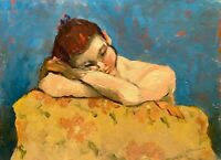 SIGNED NUDE FIGURE STUDY PORTRAIT MODERNIST DOUBLE SIDED PAINTING WOOD PANEL