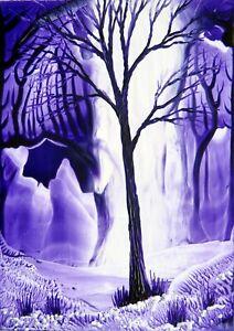 ORIGINAL ACEO encaustic art FANTASY landscape BEESWAX painting AMETHYST tree