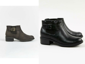 EX EVANS EXTRA WIDE FIT (EEE) Black Elastic Ankle Boots Chelsea Memory Foam