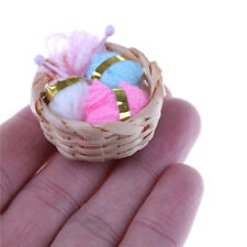 Dollhouse Miniature 1:12 Knitting Woolen Threads Needles Basket Set FSCA