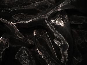 A15 (Sell Per Yard) Black Crystal Mirror Organza Darpping Sheer Fabric Material