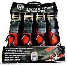 "4pc DODGE RAM RATCHET TIE DOWN STRAP SET 1"" X 15' 1500LB CAPACITY 94001 TRUCK"