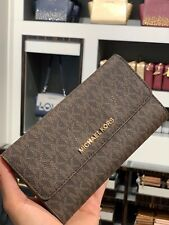 1ec6828ff062 Michael Kors Jet Set Travel Large Trifold Wallet Signature PVC Brown Acorn