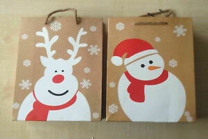 Pack of 2 large Size CHRISTMAS SNOWMAN & REINDEER GIFT BAGS trusted UK seller.