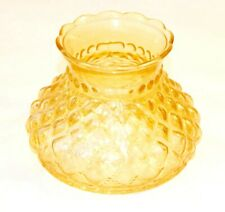 Vintage Glass Lampshade Orange Quilted Gas Lamp Antique Lighting