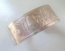Sterling, Hallmarked, 39.9 grams, Egyptian Scenes Cuff Bracelet.