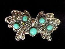 STERLING SILVER Marcasite Turquoise Butterfly Brooch Vintage Vintage design