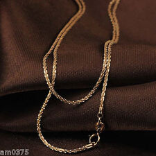 """New Au750 Pure 18K Rose Gold Necklace Woman Charming Star Perfect Chain 15.7""""L"""