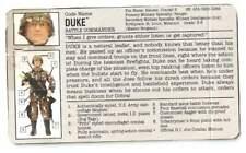 "1993 GI Joe Duke v.3 12"" Hall Of Fame FILE CARD gray bio filecard original JTC"