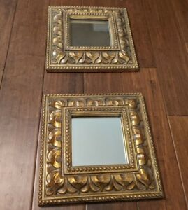 Pair Of Decorative Mirrors With Golden Frame