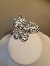 Vintage Silver Tone Marked Gerry's Flower Brooch Pin