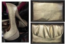 Breckelle's GOLD Glitter High Heals 7 Med FREE Gold Clutch!! SALE!!